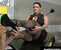 BBW Teacher Angelina Castro Makes Roxanne To Do Foot Job!