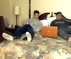 Hidden cam bi-curious guys jerk each other off