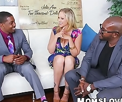 Curvy MILF with big tits double fucked by big dicked thugs