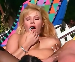 Busty blonde MILF Lovette moans with pleasure while getting nailed outdoors