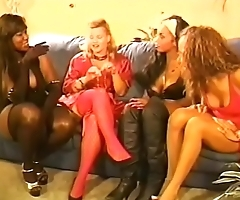 Group of various ladies are talking and prepearing for sex party