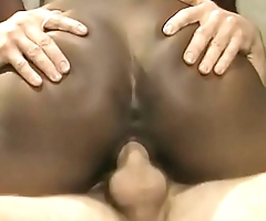 White stud fucks and creams a black anal cock sucker Menage Trois before getting splooged