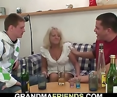 Two buddies fuck boozed old blonde granny