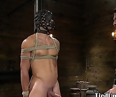 Bound sub flogged and tugged by horny hunk