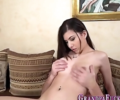 Teen sucking grandpas rod