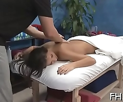 Sexy 18 year old gets drilled doggy position hard by her massage therapist!