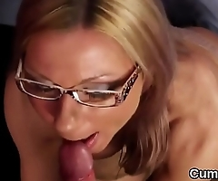 Feisty looker gets sperm load on her face sucking all the jizm