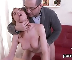 Innocent college girl was teased and reamed by older teacher