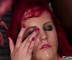 Foxy beauty gets cumshot on her face gulping all the jizm
