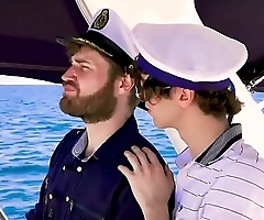 The Captain and his skipper fuck a young client on the boat