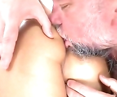 Old guy fucks the hot babe