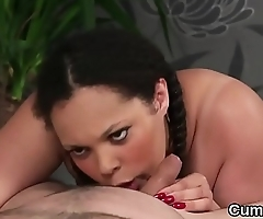Sexy looker gets cum load on her face swallowing all the jism