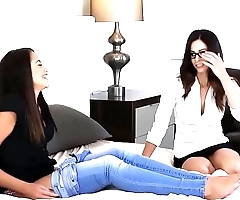 Lesbian Eva Long tutoring the cute Avi Love