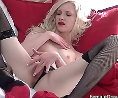 Petite Blonde in Sexy Lingerie and High Heels Vibes Her Clit to Two Orgasms