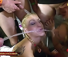 Extreme Pissing Gangbang with two Nasty Babes - 666Bukkake