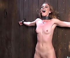 Babe tormented in strict bondage