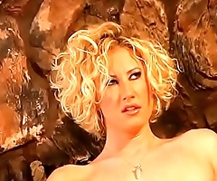 Curly blonde with juicy tits gets fucked in mouth, ass and pussy