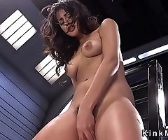 Slim Latina cutie rides fucking machine