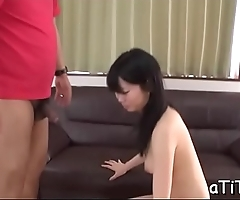 Asian chick with glamorous boobs toys her wanton cunt