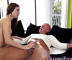 Teen gets gramps cumshot
