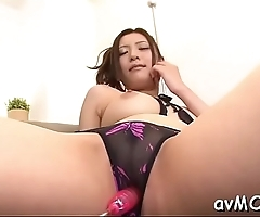 Milf with hairy slit gets licked and clitoris stimulated with virator