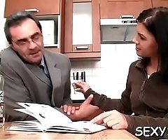Babe is getting hardcore doggystyle drilling from teacher