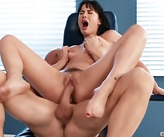 Doctor cums on patient's feet after good fucking