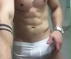 ZporN - Really Amateur Gay Handjob 2 - Touch my really gigant hard cock under my wet boxers in bath