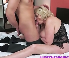 Chubby euro grandma pounded in missionary