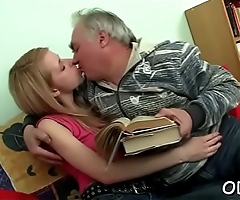 Legal age teenager seductress gts it on with old fellow and gives blowjob