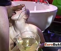 Kinky bitch has a weird fetish for a variety of bodily fluids