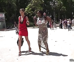 Ebony slave gets lezdom in public