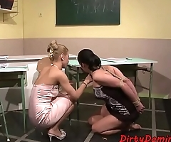 Lezdom teacher punishing bound sub teen