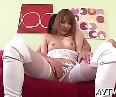 Raucous from behind drilling for charming asian sweetheart