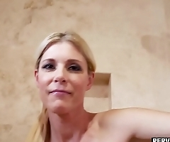 Horny MILF stepmom sucks a stepsons dick under a shower