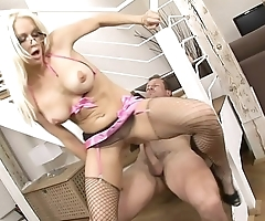 Blonde Stacy Silver in high heels and lingerie gets deep penetration on the stairs and on couch