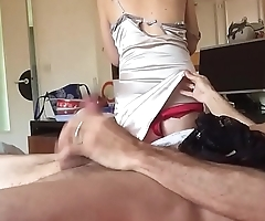 T&amp_A 265 - White Girl, Satin Nightie and Red Satin Panty
