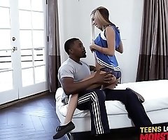 Luscious cheerleader stretched to the limit by black cock